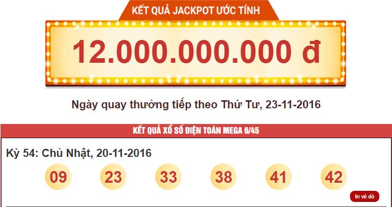 Người Thứ 4 Trúng Giải Jackpot Xổ Số Mega 6/45 Của Vietlott Với Hơn 54 Tỷ Đồng