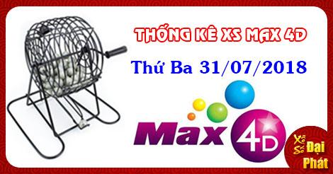 Thống Kê Xổ Số Tự Chọn Vietlott Max 4D Thứ 3 Ngày 31/07/2018